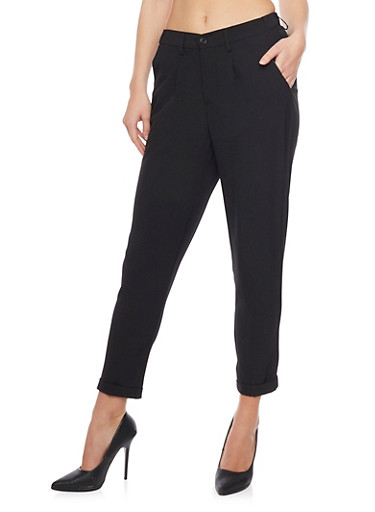 Crepe Knit Pleated Dress Pants with Cuff,BLACK,large