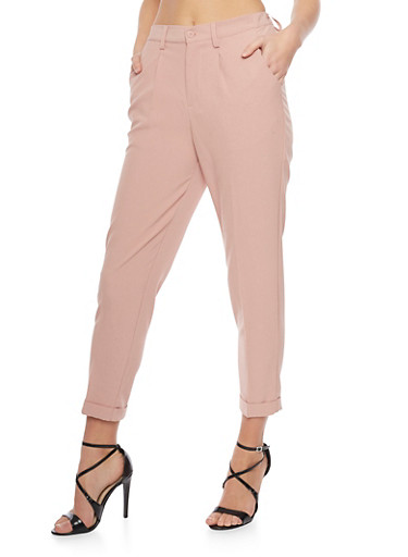Crepe Knit Pleated Dress Pants with Cuff,ROSE MISTY,large