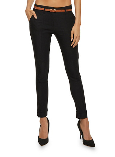 Solid Belted Twill Pants,BLACK,large