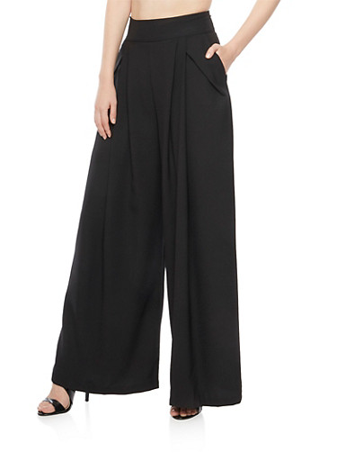 Palazzo Pants with Pleats,BLACK,large