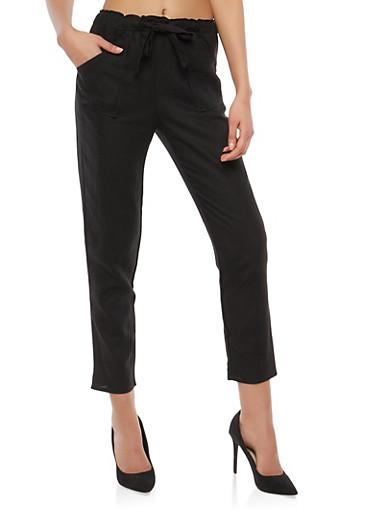 Belted Linen Pants,BLACK,large