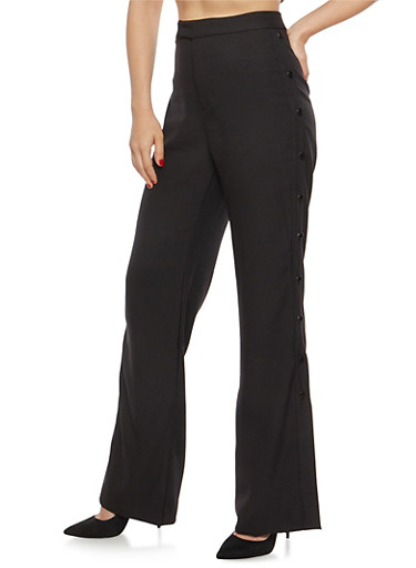 Palazzo Dress Pants with Button Detail,BLACK,large