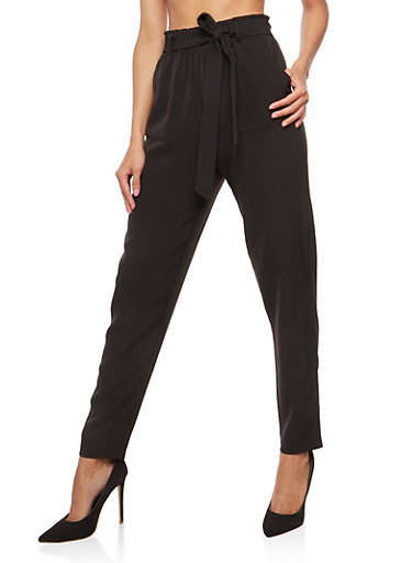 Tie Waist Dress Pants,BLACK,large