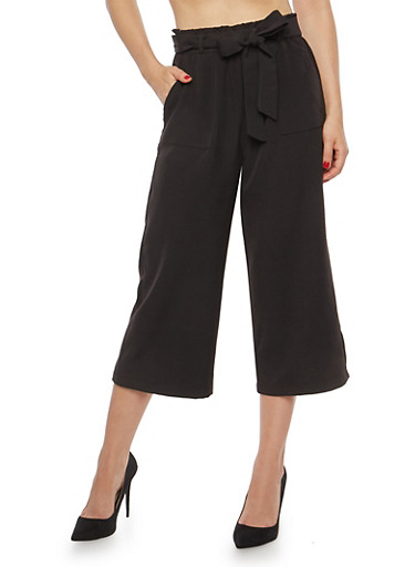 Cropped Tie Waist Palazzo Pants,BLACK,large