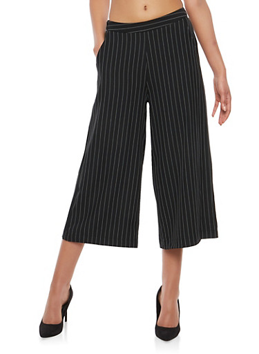 Stripe Cropped Palazzo Pants,BLACK,large