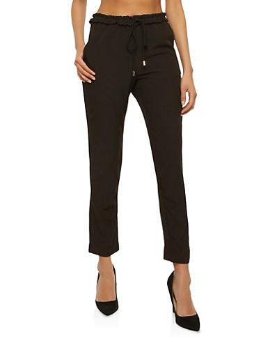 Smocked Waist Skinny Pants,BLACK,large