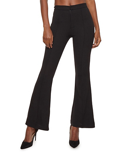 Knit Crepe Flare Pants,BLACK,large
