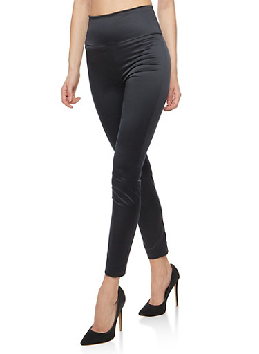 Satin Skinny Pants,BLACK,large
