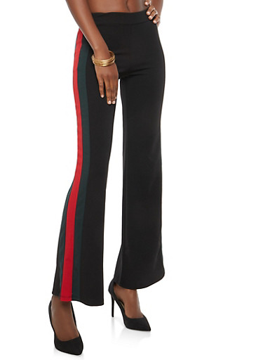 Side Stripe Crepe Knit Palazzo Pants,BLACK,large