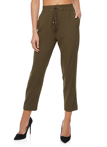 Crepe Knit Casual Pants,OLIVE,large