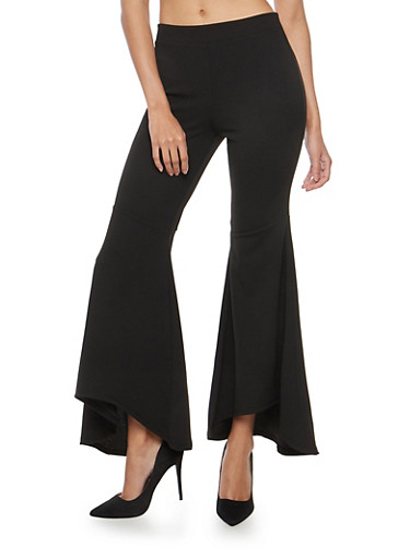 Crepe Knit Bell Bottom Pants,BLACK,large