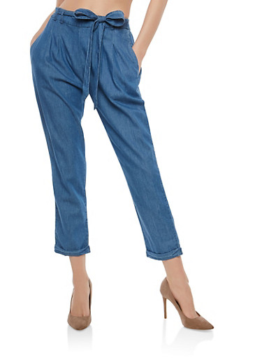 Belted Denim Pants,MEDIUM WASH,large