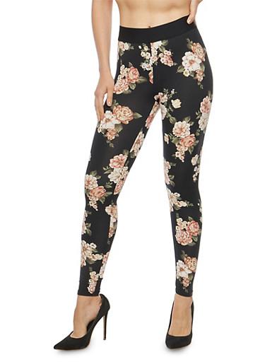 Soft Knit Floral Leggings,BLACK,large