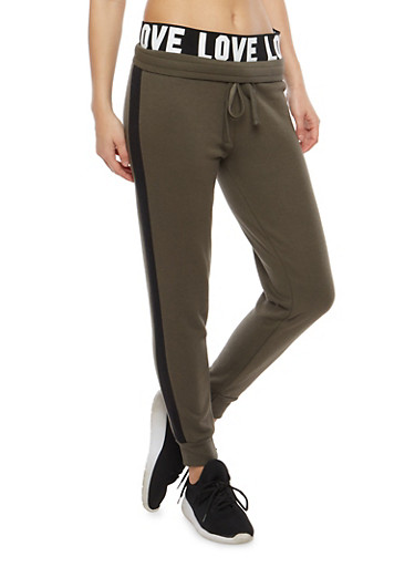Graphic Waistband Sweatpants,OLIVE,large