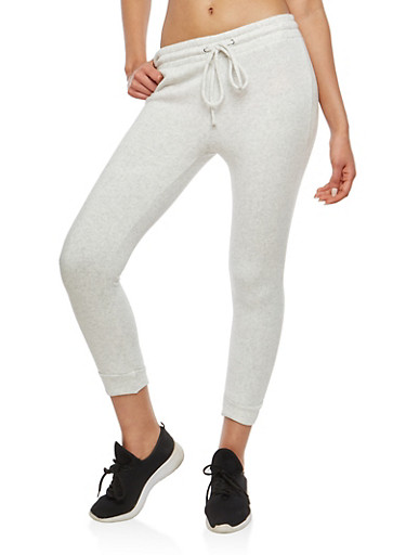 Marled Fleece Lined Joggers,OATMEAL,large
