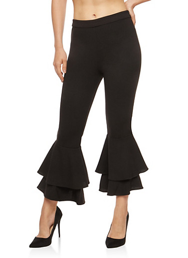 Tiered Bell Bottom Pants,BLACK,large
