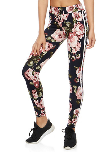 Soft Knit Floral Joggers,NAVY,large