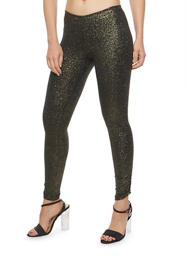 Glitter Knit Ruched Leggings,GOLD,large