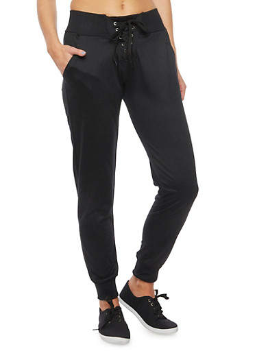 Lace Up Joggers,BLACK,large