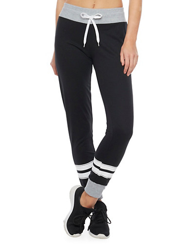 Soft Knit Drawstring Joggers with Love Graphic,BLACK,large