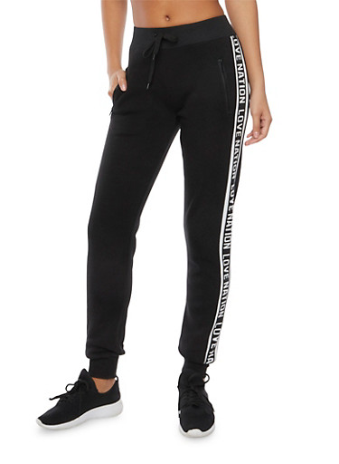 Joggers with Love Nation Print and Zip Pockets,BLACK,large