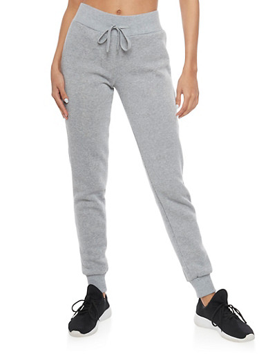 Fleece Joggers with Drawstring Waist,HEATHER,large
