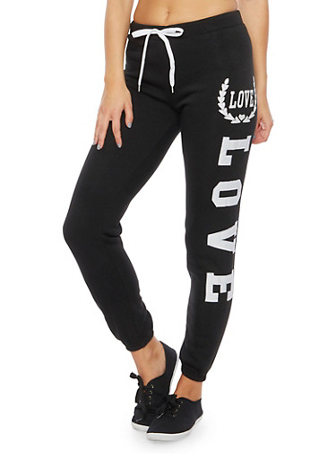 Joggers with Love Graphics,BLACK,large