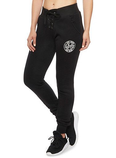 Lace Up Joggers with Love Nation Graphic,BLACK,large