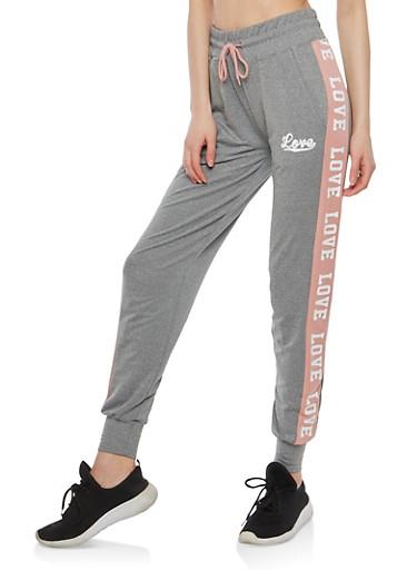 Contrast Stripe Love Graphic Sweatpants,HEATHER MAUVE,large