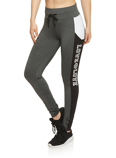 Love Graphic Active Leggings,CHARCOAL,large