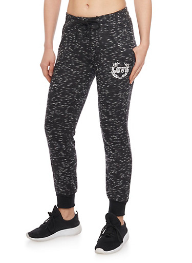 Lace Up Marled Love Graphic Joggers,BLACK,large