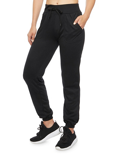 Drawstring Joggers with Smocked Hems,BLACK,large