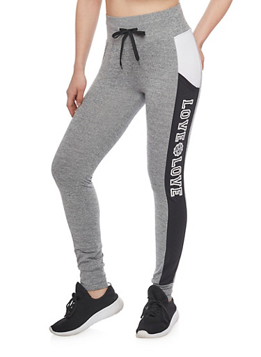 Love Graphic Two Tone Joggers,HEATHER,large