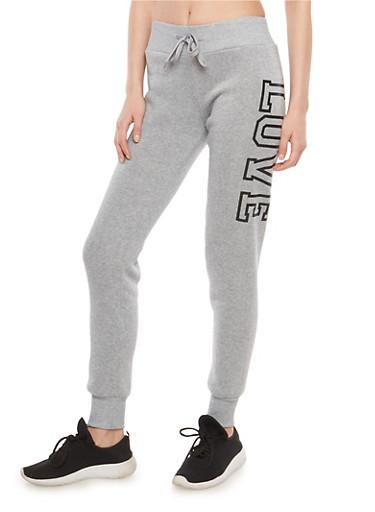 Fleece Lined Love Graphic Sweatpants,HEATHER,large