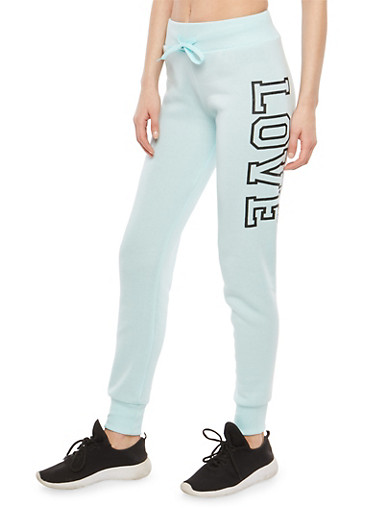 Fleece Lined Love Graphic Sweatpants,MINT,large