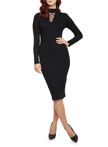 Bodycon Dress with Lace Up Cutout,BLACK,large