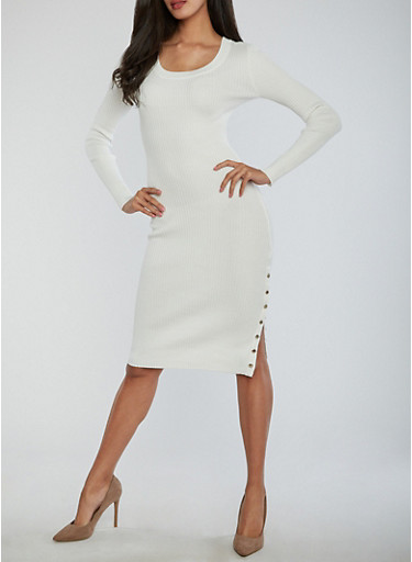 Long Sleeve Rib Knit Dress with Snap Slit Detail,IVORY,large