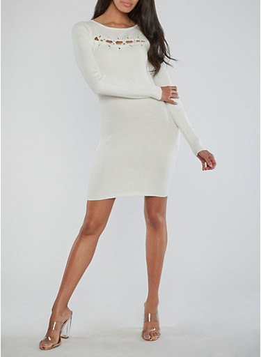 Lace Up Detail Ribbed Knit Dress,IVORY,large