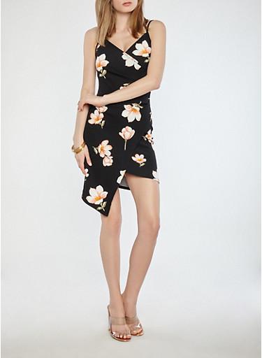Floral Faux Wrap Dress,BLACK,large