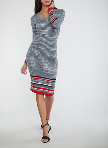 Border Print Ribbed Knit Dress,RED,large