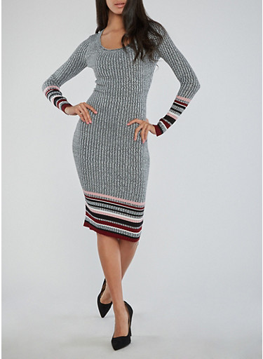 Border Print Ribbed Knit Dress,BURGUNDY,large