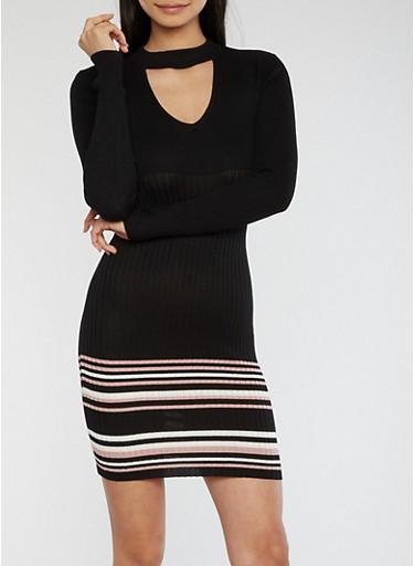 Rib Knit Choker Neck Sweater Dress,BLACK,large