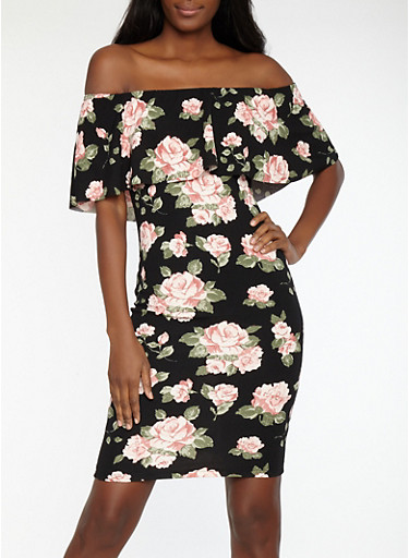Floral Print Off the Shoulder Dress,BLACK,large