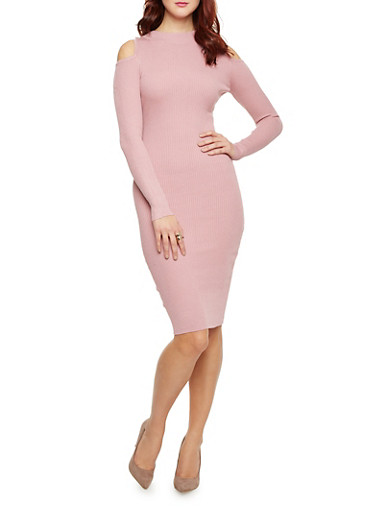 Rib Knit Cold Shoulder Bodycon Dress with Long Sleeves,MAUVE,large
