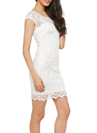 Lace Sweetheart Dress with Back Cutout,IVORY,large