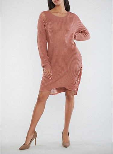 Distressed Heavy Knit Sweater Dress,MAUVE,large