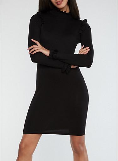 Mock Neck Ruffle Detail Sweater Dress,BLACK,large
