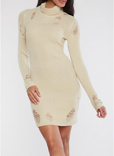 Distressed Ribbed Knit Dress,LIGHT SAND,large