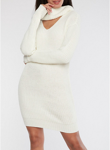 Cowl Neck Knitted Sweater Dress,IVORY,large