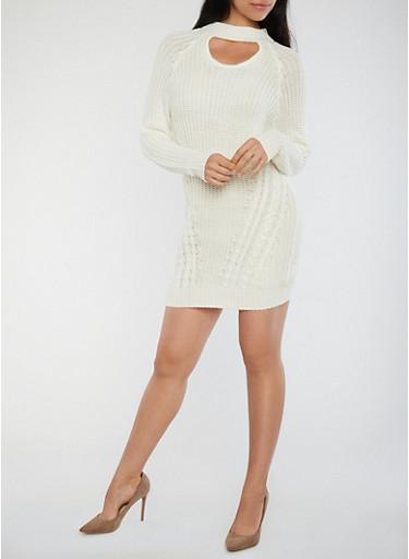 Choker Neck Chunky Knit Sweater Dress,OFF WHITE,large
